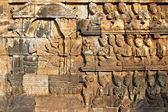低音救济在婆罗浮屠寺庙墙上, — 图库照片