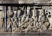 Bass-relief on the wall in Borobudur temple — Stock Photo