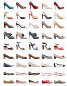 Samling av olika typer av kvinnliga skor — Stockfoto