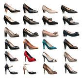 Zbiór różnego rodzaju kobiece buty — Zdjęcie stockowe