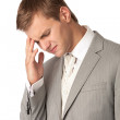 Young man in suit suffering from bad headache — Stock Photo #11856463