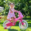 Portrait of a cute four-year old girl riding her bicycle — Stockfoto
