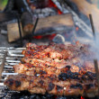 Shish kebabs grilled on fire — Stock Photo