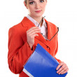 Royalty-Free Stock Photo: Youngc aucasian business woman holding glasses and a folder