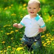 Portrait of a happy one-year old boy on a walk in a park — Stock Photo #11857170