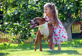 Cute four-year old girl playing with her dog — Stock Photo