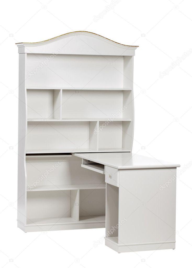 wei e holz workstation schreibtisch und b cherregal mit. Black Bedroom Furniture Sets. Home Design Ideas