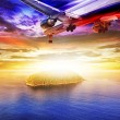 Jet plane over the sea at dawn — Stock Photo
