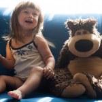 Pretty girl with teddy bear — Stock Photo