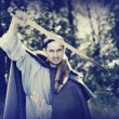 Man with medieval sword — Stock Photo #11004388