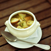 French onion gratin soup — Stock Photo