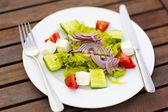 Greek salad on white plate — Stock Photo