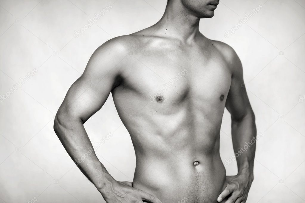 Sexy bared male body - torso, press, hip and waist — Stock Photo #11470482