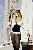 性感的年轻女性 pirat — 图库照片