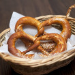 Salted pretzels in a basket — Stock Photo