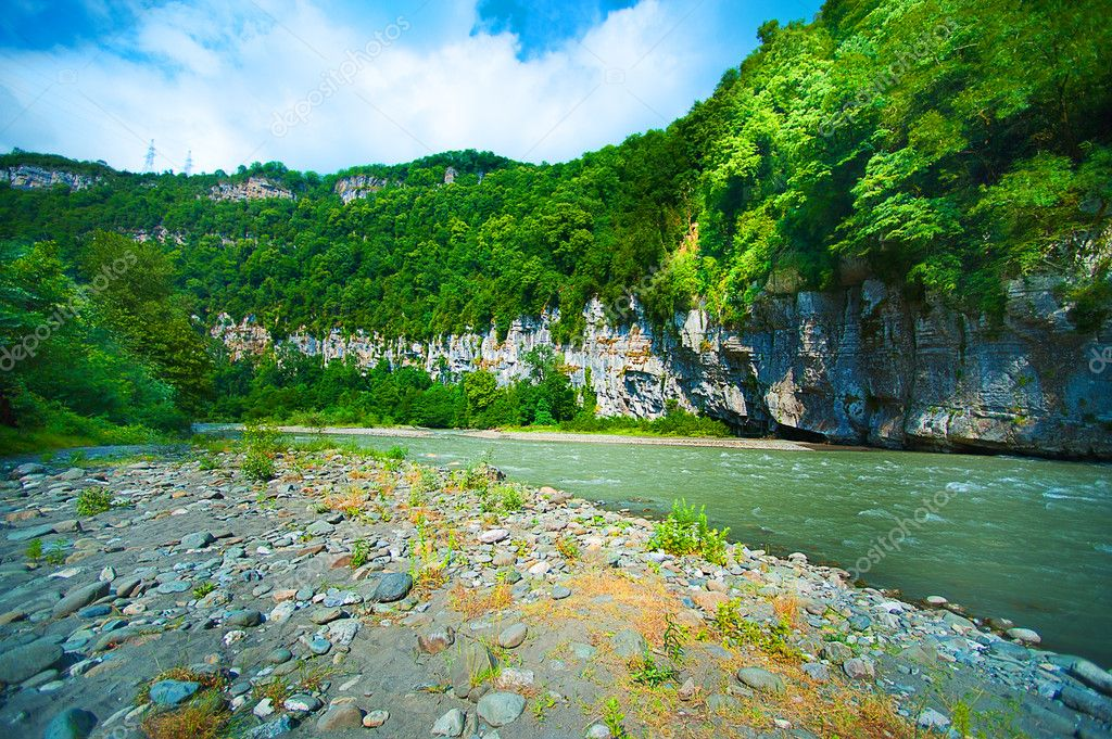 Beautiful landscape - canyon and Mountain river — Stock Photo #11783427