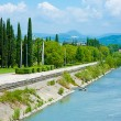 Embankment Mzymta river in Sochi - Stock Photo