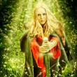 Woman witch in miracle Enchanted forest — Stock Photo