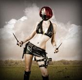 Sexy dangerous woman in black mask — Stock Photo