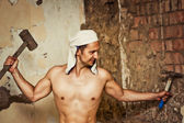 Sexy topless male construction worker — Stock Photo