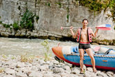 Water rafting, young man and raft boat — Stock Photo