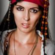 Fashion portrait of woman pirate — Stock Photo