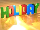 Word Holiday on yellow background — Stock Photo