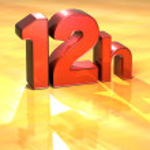 la palabra 12h sobre fondo amarillo — Foto de Stock