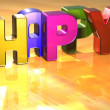 Word Happy on yellow background — Stok fotoğraf