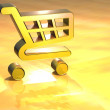 Стоковое фото: 3D Shopping Card Gold Sign