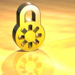 Stock Photo: 3D Closed Padlock Gold Sign