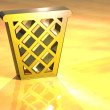 Foto Stock: 3D Basket Gold Sign