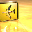 Stock Photo: 3D Airport Gold Sign