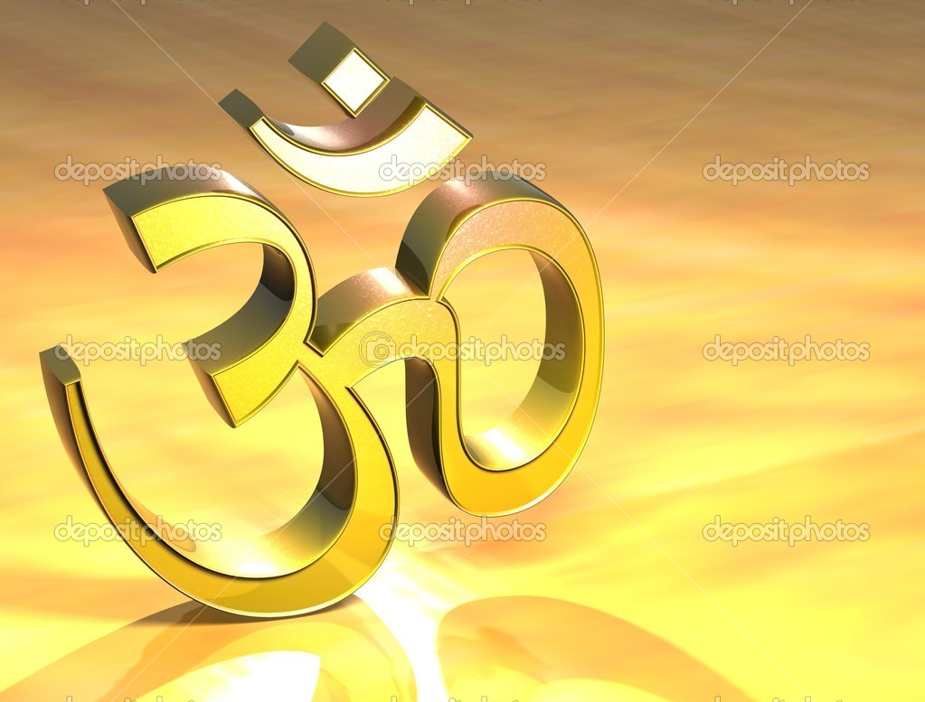 3D Hinduism Gold Sign over yellow background — Stock Photo #11074557