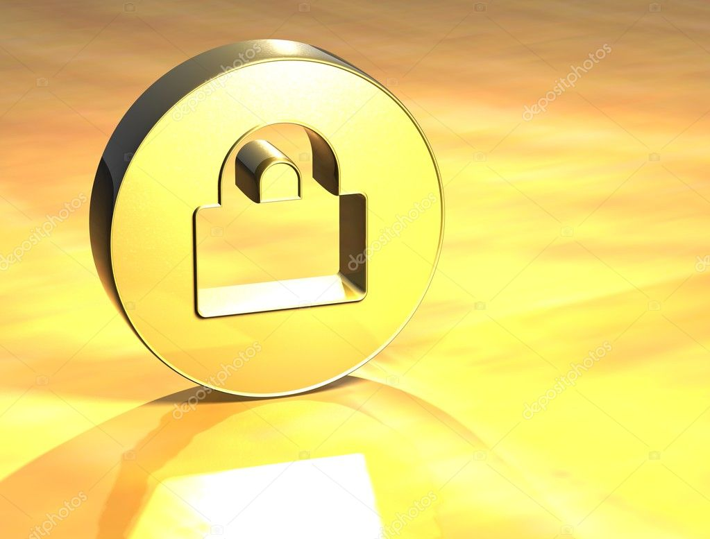 3D Closed Padlock Gold Sign over yellow background — Stock Photo #11192797