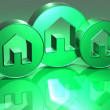 Stock Photo: 3D Houses Green Sign
