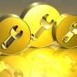 3D Tools Gold Sign — Stock Photo