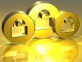 3d otevřené visací zlaté znamení — Stock fotografie