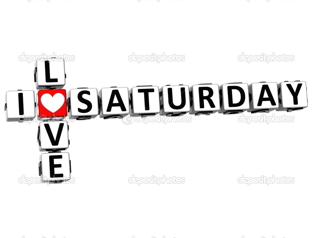 3D I Love Saturday Crossword on white background  Stock Photo #11330601