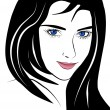 Closeup beautiful  vector woman face portrait with long hair — Stok Vektör