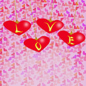 Valentine day vector background with many pink hearts — Stock Vector