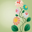 Beautiful color flowers tree on floral green vertical background — 图库矢量图片