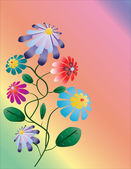 Beautiful bright vertical flower illustration on colorful backgr — Stock Vector