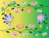 Bright beautiful flowers on yellow green background. Vector illu — Stock Vector