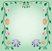 Ornament of beautiful flowers on light green background. Vector — Stock Vector
