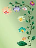 Beautiful color flowers tree vector illustration on light green — Stock Vector