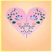 Beautiful pink heart with flowers with green leaves inside. Illu — Stock Vector