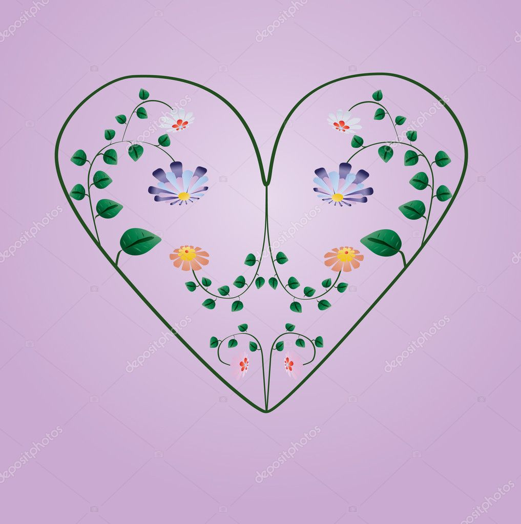 Greeting card with colorful flowers in heart shape vector illustration — Stock Vector #11491594