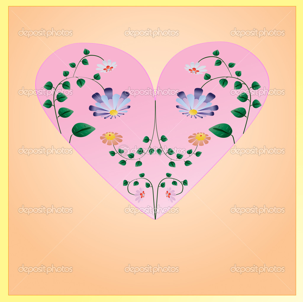 Beautiful pink heart with flowers with green leaves inside. Illustration — Stock Vector #11491659