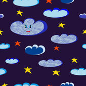 Smiling blue clouds and bright stars seamless on dark night sky. — Stock Vector